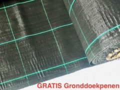 Zwarte Agrosol Campingdoek - Gronddoek - Worteldoek 4,20M X 7M totaal 29,4M² + 15 GRATIS grondpennen. Hoge kwaliteit, lucht en water doorlatend.