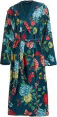 Donkerblauwe Pip Studio Good Evening badjas van katoen met bloemendessin