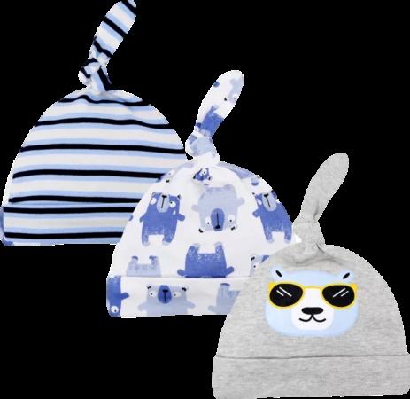 Afbeelding van Babymuts set – Beren blauw