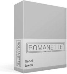 Zilveren Romanette Flanel Laken - 100% Geruwde Flanel-katoen - Lits-jumeaux (240x260 Cm) - Off-white