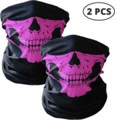 Roze Elemental GOods 2 Stuks Luxe Biker Mask - Fietsmasker - Motormasker - Bandana - Balaclava - Gezichtsmasker - Bivakmuts
