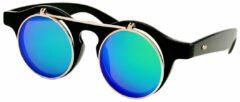 Twinklerz Retro Vintage Ronde Zonnebril Met Klepje Zwart - Blauw Groen Spiegelglazen - Flip Up Zonnebril