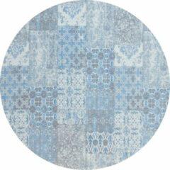 Lichtblauwe Gínore Vintage rond vloerkleed - Patchwork - Tapijten woonkamer - Sunrise blauw - 110cm ø