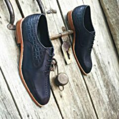 Pantera Pelle Leather Shoes Handgemaakt uniek design volledig lederen herenschoen donkerblauw maat 44