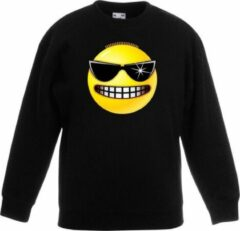 Bellatio Decorations Smiley/ emoticon sweater stoer zwart kinderen 9-11 jaar (134/146)