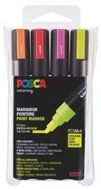 Marker Posca geassorteerde fluo kleuren kegelpunt 1,8 tot 2,5 mm - Doos van 4