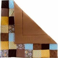 Popjes & Zo Speelkleed boxkleed 100 x 100 cm patchwork - veertjes luipaard barok print - camel okergeel en wit