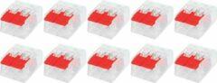 Merkloos / Sans marque Lasklem Slim Set 10 Stuks - 2 Polig met Klemmetjes - Rood