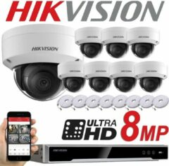 HIKVISION 8MP SYSTEM 8CH Kanaals NVR IP POE 8X 8 MP MEGAPIXEL CCTV 2.8MM DOME Netwerkcamera Kit - Binnen en Buiten - NIGHT VISION DS-7608NI-K2/8P DS-2CD2185FWD-I - 6 TB hdd - Wit