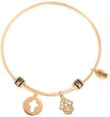 Goudkleurige CO88 Collection 8CB-25005 - Stalen bangle met bedels - open kruis en Fatima's hand - one-size - goudkleurig