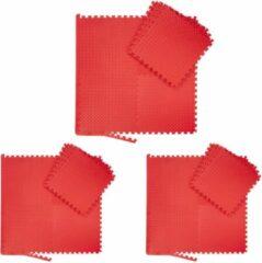 Rode Relaxdays 24x fitness mat set - vloermat - beschermmat - sportmat - puzzelmat – schuimstof