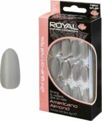 Licht-grijze Royal 24 Glue-On Nail Tips Americano Almond (met nagellijm)