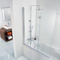 Ben Martino Soft 2-delige Badklapwand 114x140cm Chroom / Helder Glas