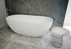 SSI Design Solid Round vrijstaand bad 150x76x53cm mat wit