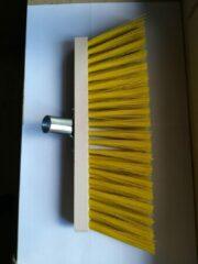 Beige Merkloos / Sans marque Straatveger 40 cm geel pvc, incl. steel 140 cm