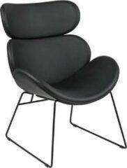 Fyn Cazy fauteuil kunstleer zwart - zwart onderstel.