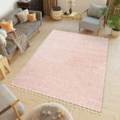Tapiso Boho Vloerkleed Woonkamer Slaapkamer Roze Hoogpolig Design Modern Sfeervol Praktisch Hoogwaardig Duurzaam Tapijt Maat - 120 x 170 cm