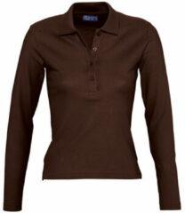 Bruine Polo Shirt Lange Mouw Sols PODIUM COLORS