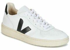 Witte Veja V-10 sneaker van leer