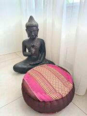 DeSfeerbrenger Jar Zafu kussen – Yogakussen - Meditatie kussen – Rond meditatiekussen – Thais kussen – Kapok – 32x32x15 cm – Roze