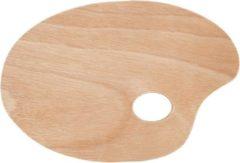 Merkloos / Sans marque 1x Houten schilder palet 20 x 30 cm - Verfpalet - Verf mengen houten schilderspalet met duim gat