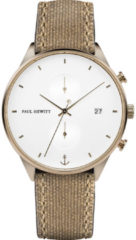 Paul Hewitt PH-C-BR-W-47M Horloge Chrono Line White Sand Bronze Canvas Desert 42 mm