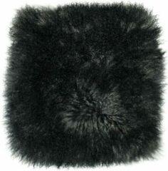 Donkergrijze Dutchskins Kussen Tibetaanse schapenvacht grijs zwart - Mongools schapenvacht kussen - sierkussen met krullen