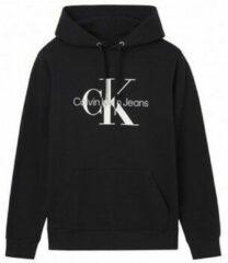 Zwarte Zweet Calvin Klein Jeans Monogram Flock Box Hoodie