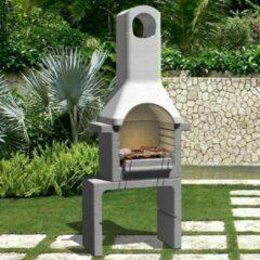 Beige VidaXL Houtskoolbarbecue met schoorsteen beton