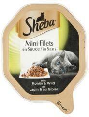 Sheba Mini Filets - Konijn/Wild in saus - Aluminium Kuipjes - Kattenvoer - 22 x 85 gr
