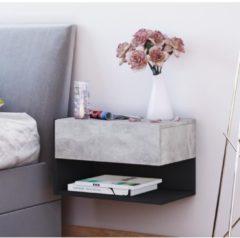 Wand - Nachttisch 'Dormal' | Nachttisch Nachtschrank, Nachtkonsole VCM Beton-Optik / Schwarz