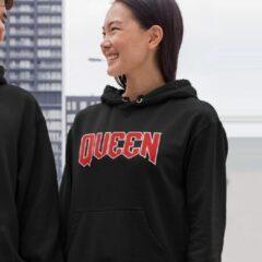 Zwarte B&C Collection King & Queen Hoodie Premium (Queen - Maat 3XL)