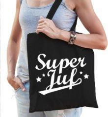 Shoppartners Super juf katoenen kado tas zwart - Jufdag / einde schooljaar cadeau