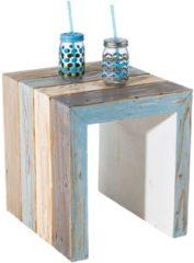 MiaVILLA Beistelltisch Stripe, Maritim, Vintage-Look, Holz, ca. B40 x T45 x H46 cm