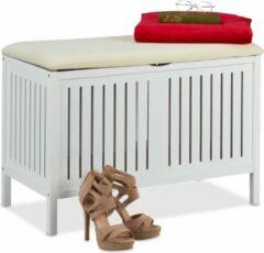 Relaxdays bankje met opbergruimte - halbank - opbergbank - zitbank met opslag - wit hout