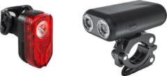 Zwarte Lzr Lights FXR-05B USB Fietverlichtingsset - 500 Lumen - UltraHelder - Twin Lens