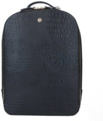 FMME Dagrugzak Claire Laptop Backpack Croco 15.6 Zwart