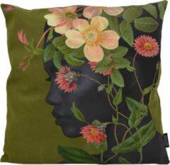Groene Gek op Kussens! Flower Face / Bloemen Gezicht Kussenhoes | Polyester / Katoen | 45 x 45 cm