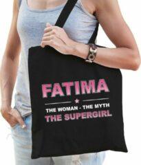 Zwarte Bellatio Decorations Naam cadeau Fatima - The woman, The myth the supergirl katoenen tas - Boodschappentas verjaardag/ moeder/ collega/ vriendin