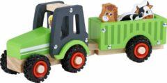 Rode Playwood Houten Tractor met Aanhanger inclusief boer en 2 dieren - Groen