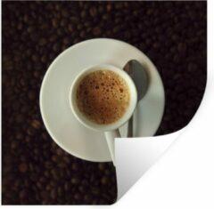 StickerSnake Muursticker Espresso - Kopje espresso op koffiebonen - 100x100 cm - zelfklevend plakfolie - herpositioneerbare muur sticker XXL / Groot formaat!