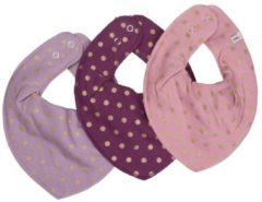 Paarse Muchachomalo Pippi - slabbetje - 3 pack - frosted pearl