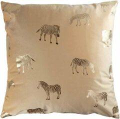 Beige Unique Living Zebra sierkussen - Zebra - Honey - 45x45cm