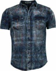 Enos Denim Heren Overhemd - Korte Mouwen - Kleur Print - Blauw Casual overhemden heren Heren Overhemd Maat S