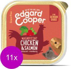 Edgard & Cooper Kip & Zalm Kuipje - Voor senior honden - Hondenvoer - 11 x 150g