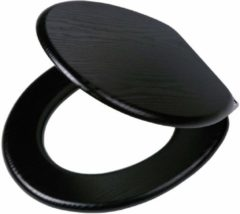 Zwarte Tiger toiletzitting Blackwash slowclose FSC 37.6x5.5x45.2cm MDF Zwart 252030746