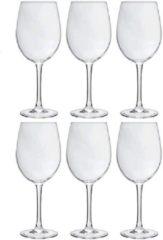 Transparante Merkloos / Sans marque 6x Luxe wijnglazen voor rode wijn 360 ml - 36 cl - Rode wijn glazen - Wijn drinken - Wijnglazen van glas