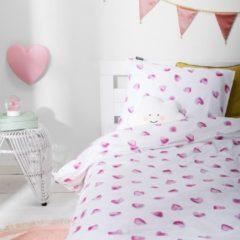 Witte Fresh&Co  Kids Fresh&Co Kids - Eenpersoons Dekbedovertrek Tiny Hearts 140x200 cm - Katoen - Dekbedovertrek met kussensloop