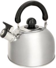 Zilveren Alpina Kitchen & Home Alpina fluitketel - 1,8l - RVS - inductie en gas - met fluit - Ø 19 cm