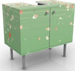 PPS. Imaging Waschbeckenunterschrank - No.EK236 Spring Background - Blumen Badschrank Grün